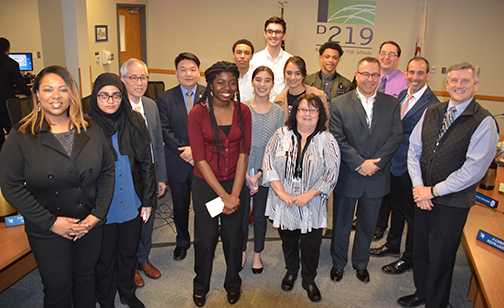 Students who attended MSAN conference are honored at a Board Meeting on 3-13-18.