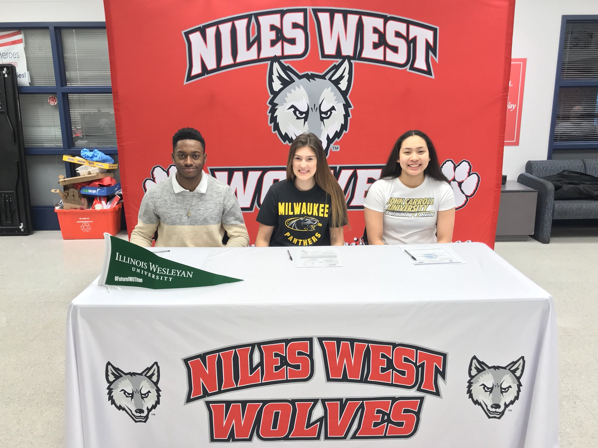 3 Niles West seniors who signed national letters of intent.