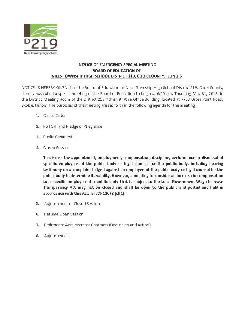agenda for emergency special meeting of Board on 5-31-18