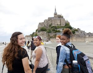CIEE Global Navigator Pictre with students at Mont st michel, France