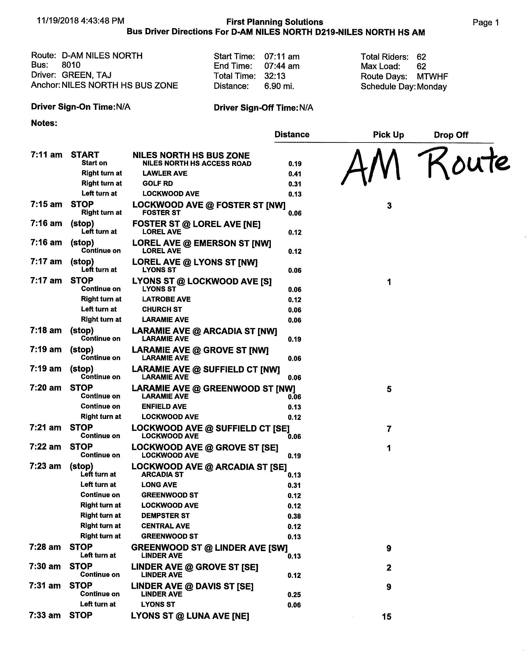 Niles North changes to bus route D (first page)
