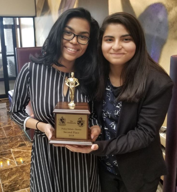 Niles West Debate team finalists at the Glenbrooks tournament