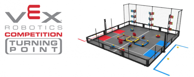 an illustration of the VEX Robotics Turning Point Competition playing field