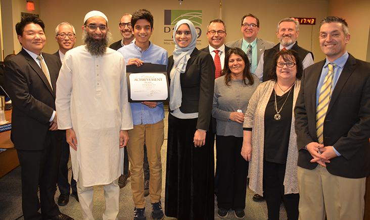 Zak Sattar received at Tech Innovators award from the BOE