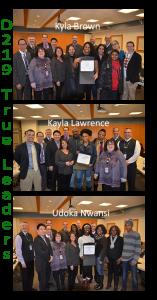 three student leaders honored at 1-22-19 School Board Meeting