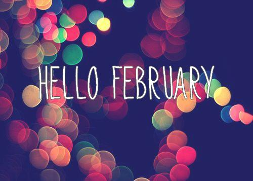 "Background with ""Hello February"" text"