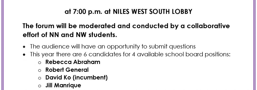 Flyer for D219 BOE Candidate Forum on 2-19-19
