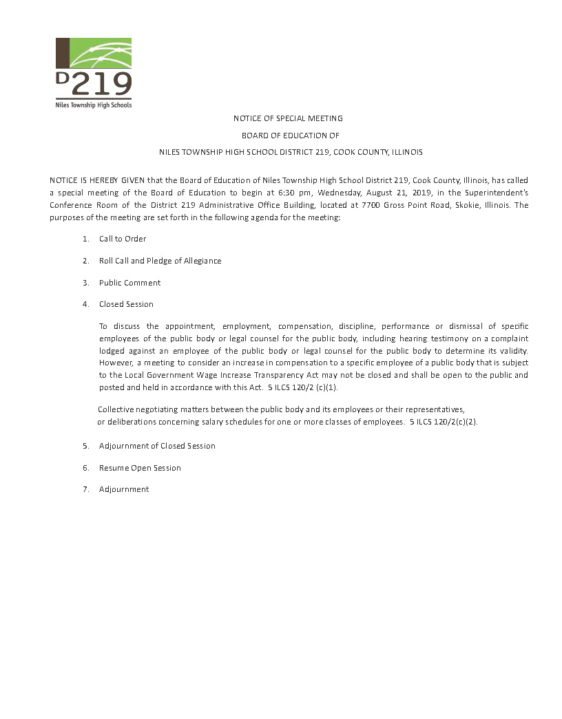 Agenda for special Board Meeting on Wednesday, August 21.