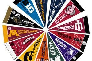 Graphic of Big Ten pennants in a circle