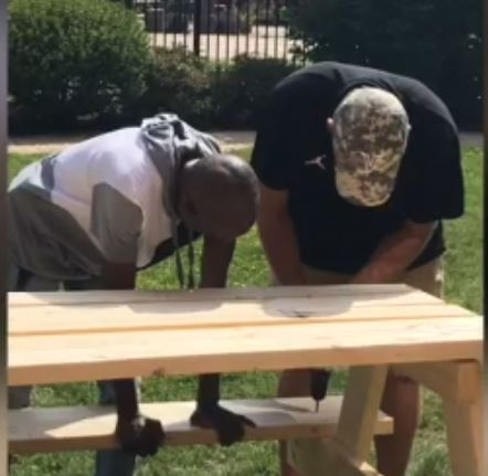 Building picnic benches for Hope Manor