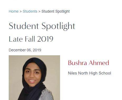 Niles North student Bushra Ahmed in Magnetar Capital UChicago Financial Education Spotlight