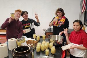 NW German students making sauerkraut