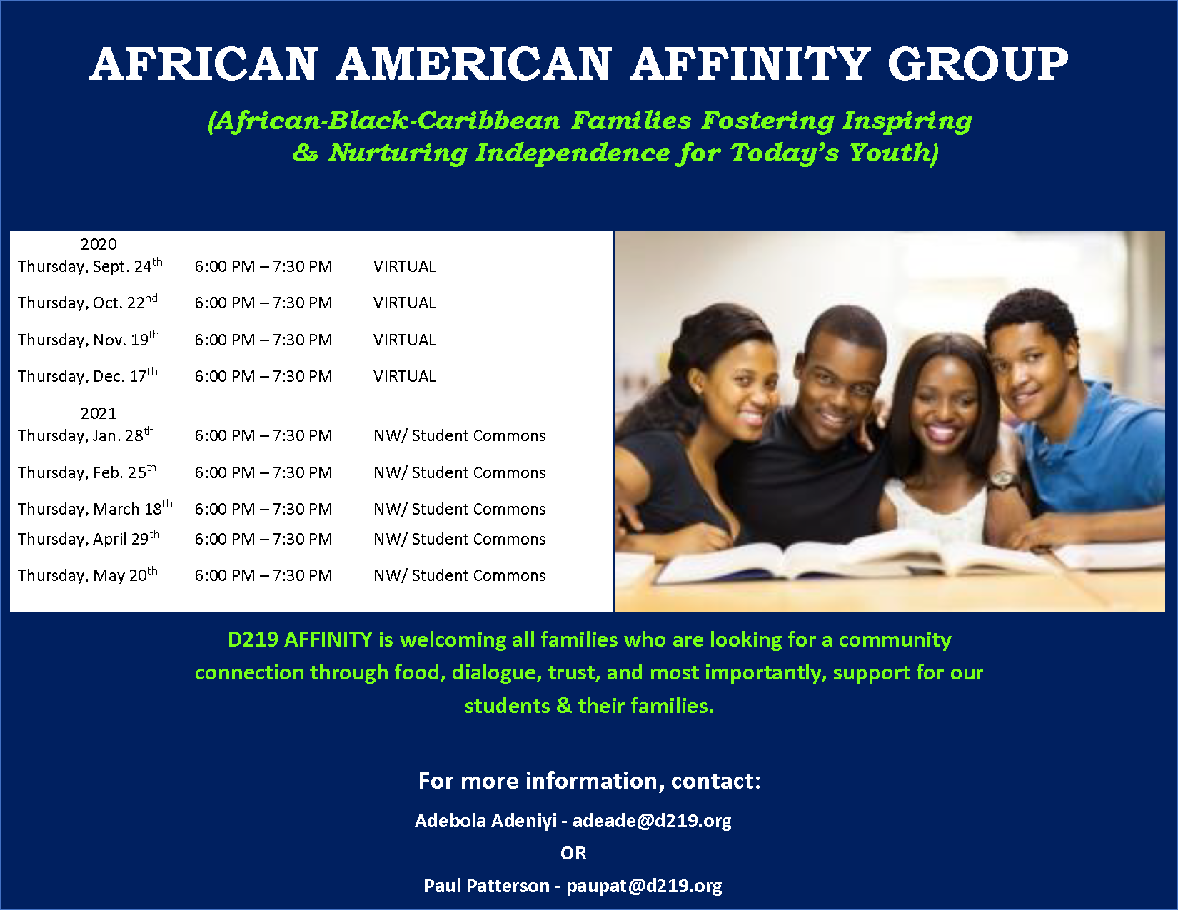 Affinity meeting dates