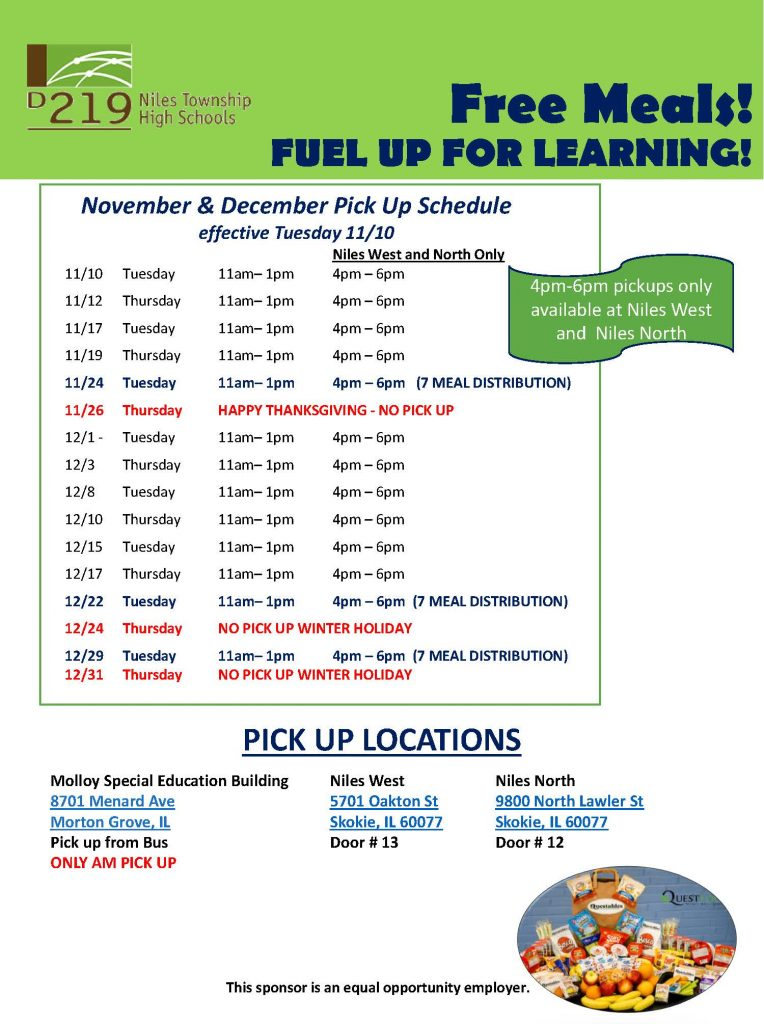 Free Meals Updated Pickup Schedule